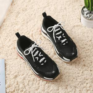 Lace Up Color Sports Shoes -