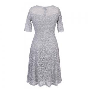 New Style Woman Elegant Summer Fashion Short Sleeve Sexy Lace O Neck Party Dress -