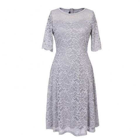 Chic New Style Woman Elegant Summer Fashion Short Sleeve Sexy Lace O Neck Party Dress
