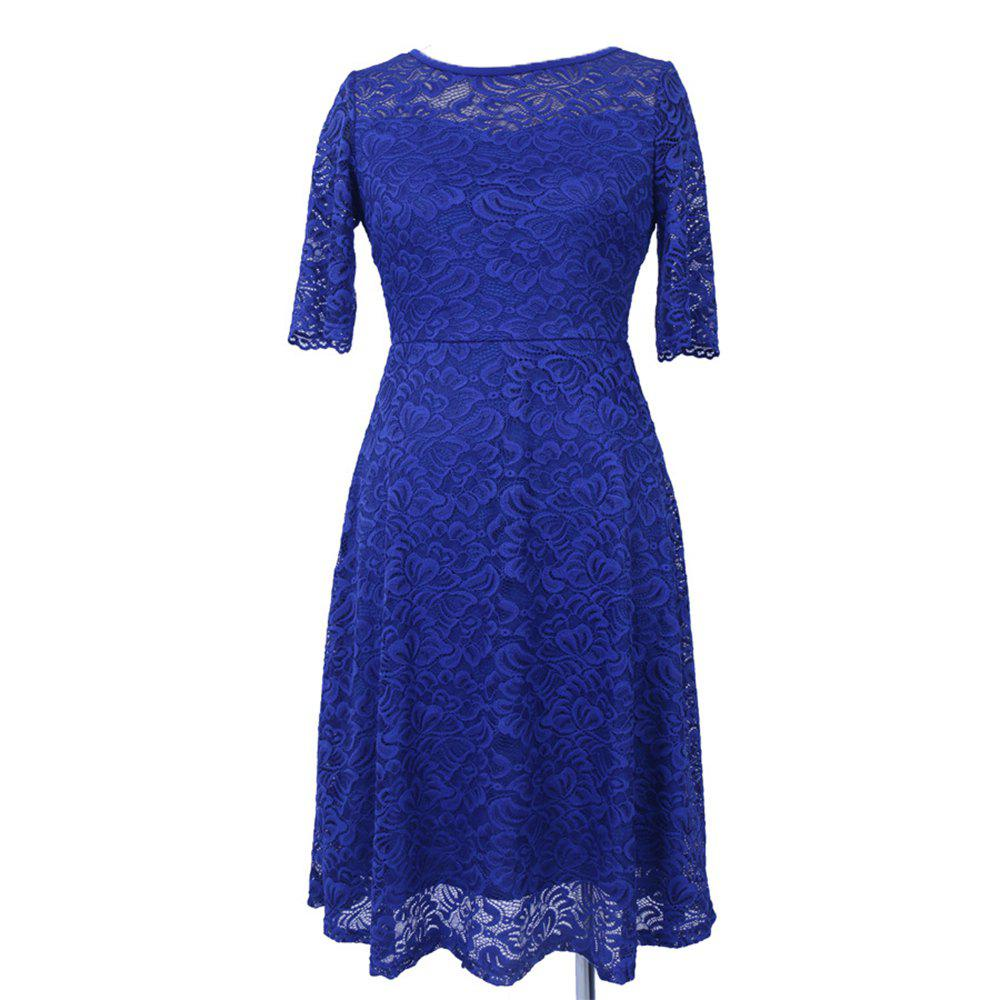 Fancy New Style Woman Elegant Summer Fashion Short Sleeve Sexy Lace O Neck Party Dress