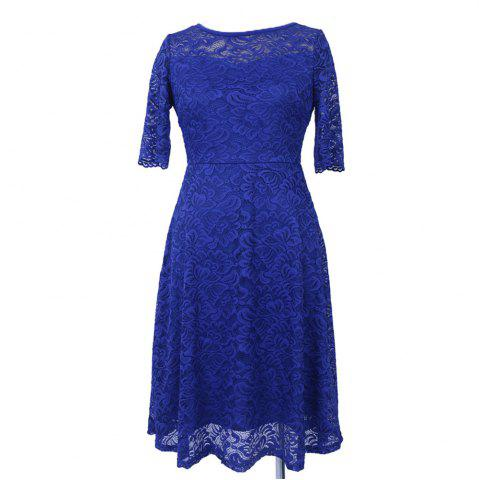 Sale 2017 New Style Woman Elegant Summer Fashion Short Sleeve Sexy Lace O Neck Party Plus Size Dress