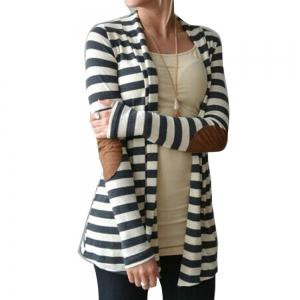 Runway Striped Cotton Cardigan Elbow Patching Women PU Leather Long Sleeve Knitwear -