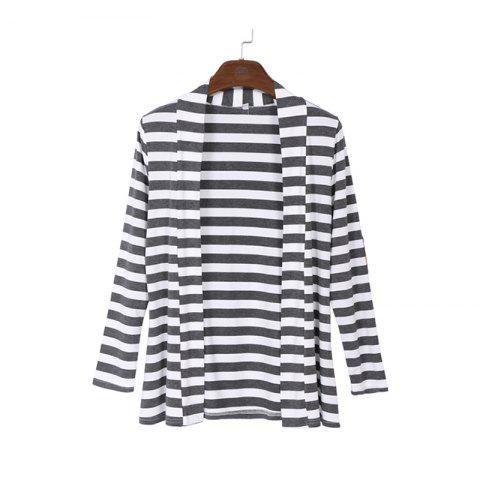 Online Runway Striped Cotton Cardigan Elbow Patching Women PU Leather Long Sleeve Knitwear