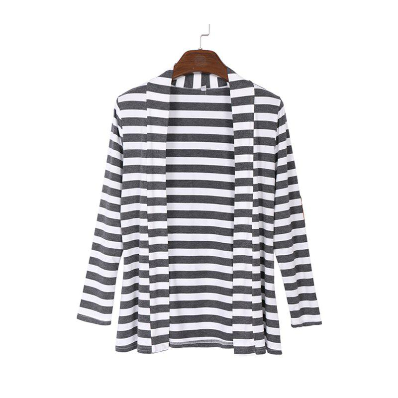 Sale Runway Striped Cotton Cardigan Elbow Patching Women PU Leather Long Sleeve Knitwear