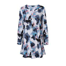 2017 Autumn New Style White Butterfly Flower Long Sleeve Blouse  Women Chiffon Blouse Floral Print Long T-Shirts -