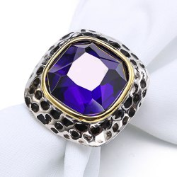 Fashion Plated Rhodium Color Zircon Luxury Rings -