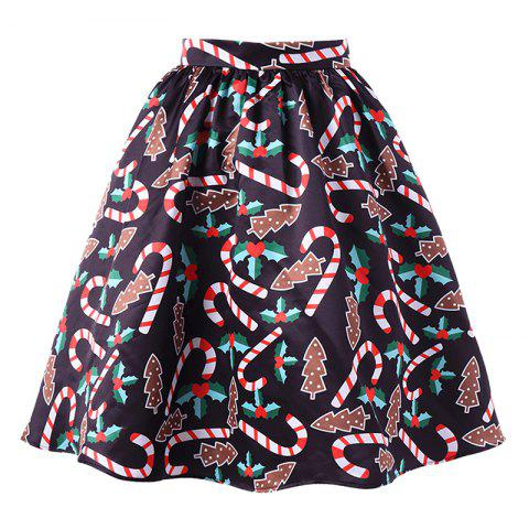 Chic Women's Fashionable Christmas Printing Crutch Skirt