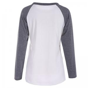Women's Fashion Spell Color Printing Long-Sleeved T-Shirt -