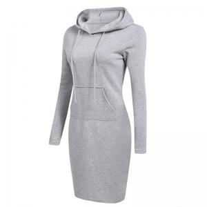 Femmes Mode Solide Couleur Pocket Long Hoodie -