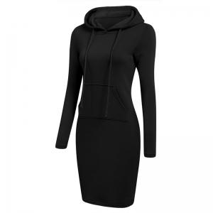 Women's Fashion Solid Color Pocket Long Hoodie -