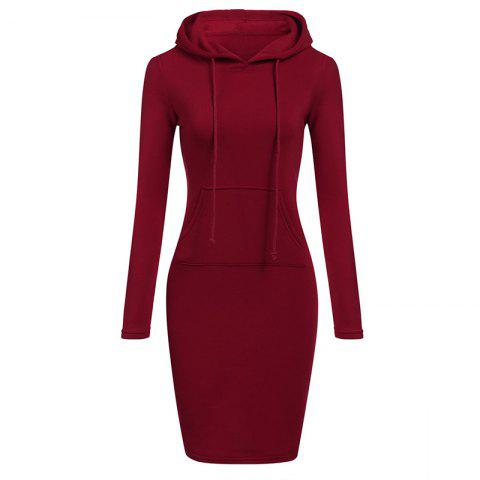 Cheap Women's Fashion Solid Color Pocket Long Hoodie