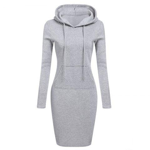 Femmes Mode Solide Couleur Pocket Long Hoodie