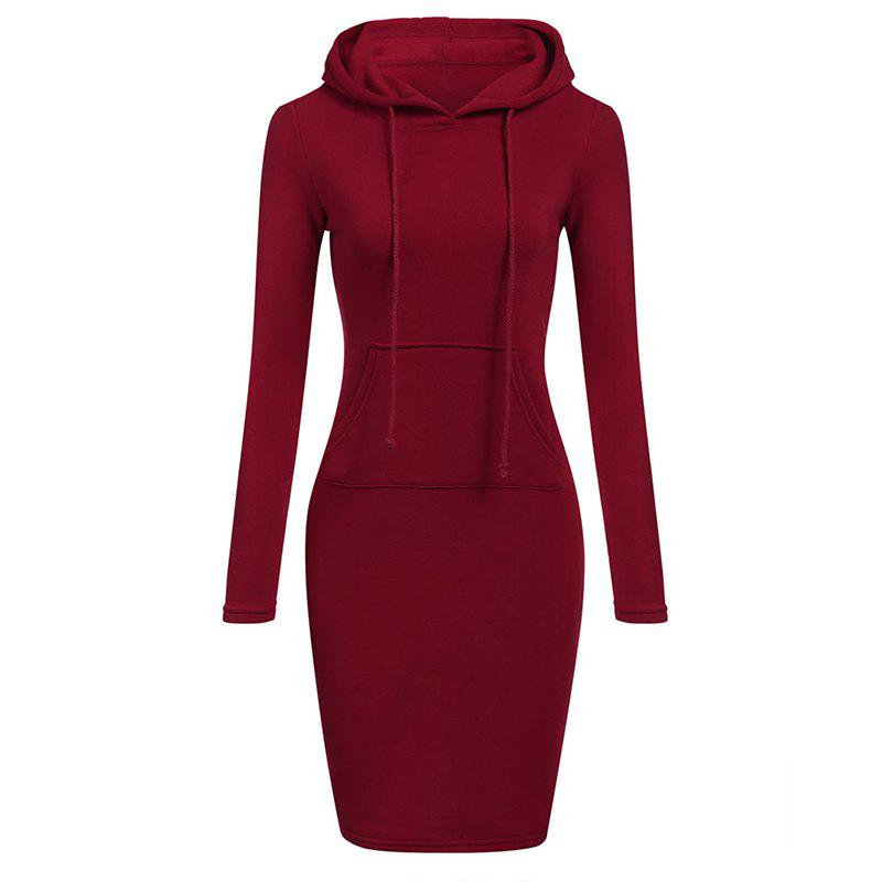 Chic Women's Fashion Solid Color Pocket Long Hoodie