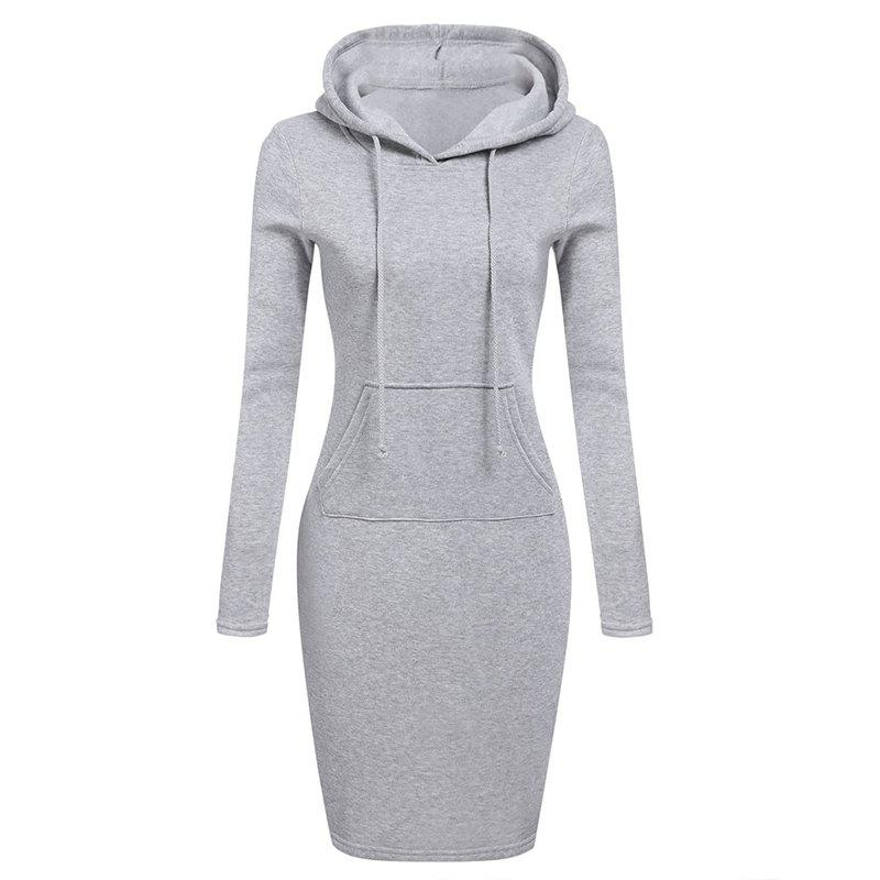 Sale Women's Fashion Solid Color Pocket Long Hoodie