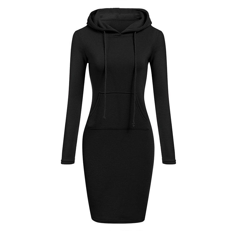 Outfit Women's Fashion Solid Color Pocket Long Hoodie