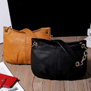 New Designer Women PU Leather Steel Chain Shoulder Bag Luxury Handbags Lady Bags Female Tote -