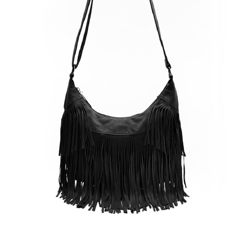 Fashion Faux Suede Tassel Handbag Women Sling Shoulder Bags Ladies Crossbody Messenger Bag Handbag Shopping Office Beach Bag