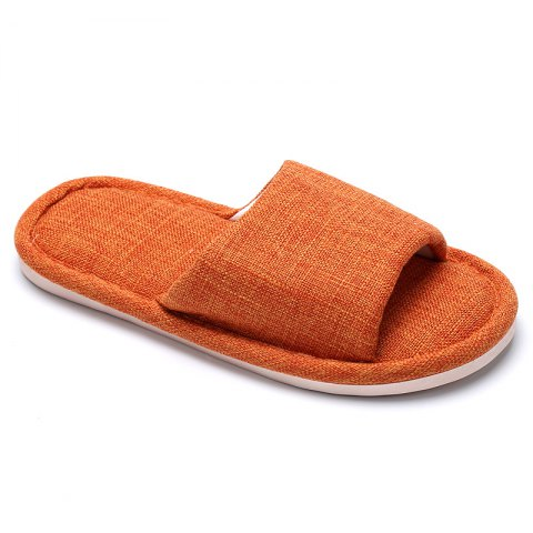 Trendy Linen Cotton Simple Household Lovers Slippers