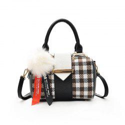 Fashion All Match Simple Plaid messenger Bag with Venonat Pendant -