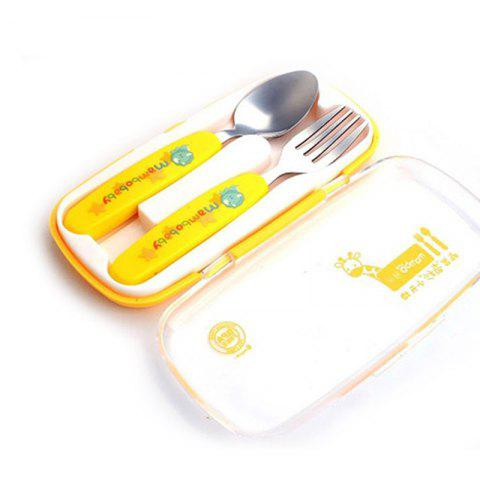 Online baby stainless steel anti-scalding spoons two-piece