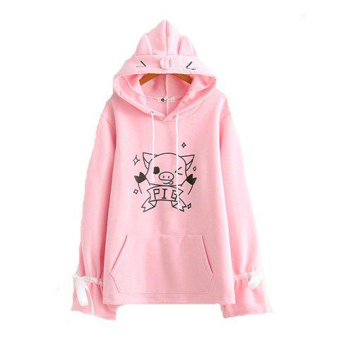 Nouveau Women's Sleeve Lace Up Cartoon Pig à capuche