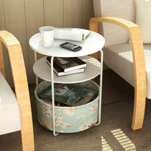 Round Wooden Side Table/End Table,3 Tiers With a Book Storage Canvas Basket Bag(Green) -
