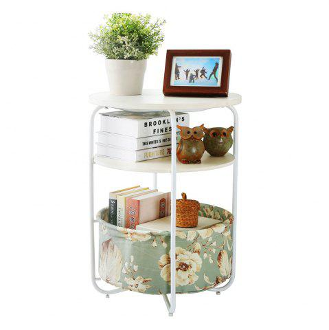 Outfits Round Wooden Side Table/End Table,3 Tiers With a Book Storage Canvas Basket Bag(Green)