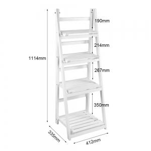 Foldable Plant Stand Flower Ladder Rack, Solid Wood (4-Tier) -