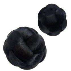Dome Hair Piece Kaneralon Black Chignon with Clip-in Fake -