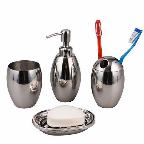 Outfits Polished Stainless Steel Refillable Splendid Bathroom Accessory Set Oval