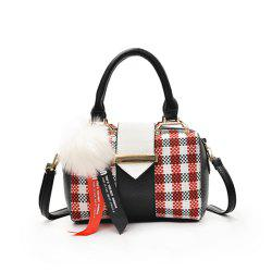 New Grid Simple Fur Ball Pendant Shoulder Messenger Bag -