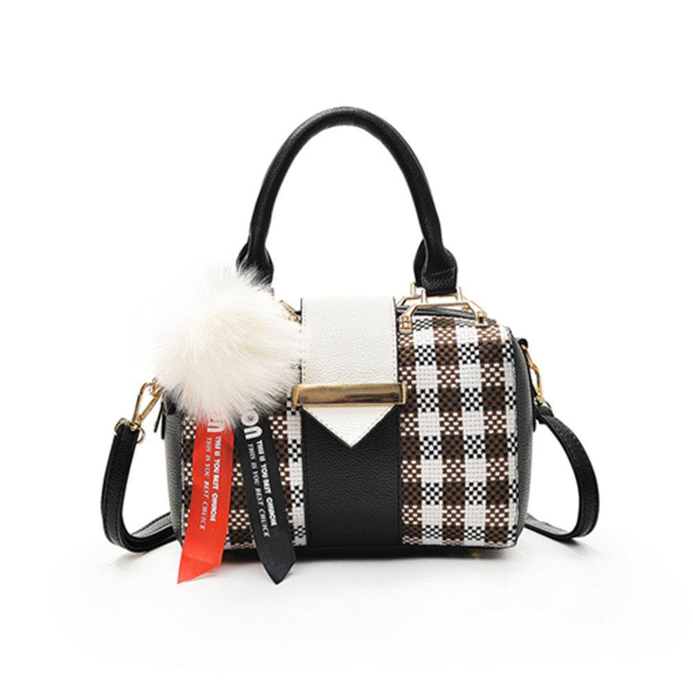 Affordable New Grid Simple Fur Ball Pendant Shoulder Messenger Bag
