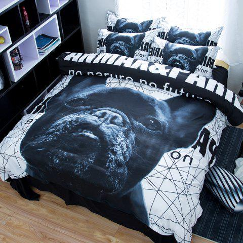 Chic New Arrivals Cartoon Bedding Set for Kids 3D Animal Bed Sheet Queen Size Cute Bulldog Print Duvet Cover Home Bedclothes