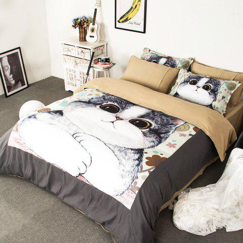 Hot New Arrivals Cartoon Bedding Set for Kids 3D Animal Bed Sheet Queen Size Cute Bulldog Print Duvet Cover Home Bedclothes