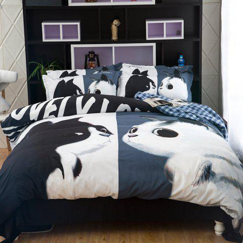Online New Arrivals Cartoon Bedding Set for Kids 3D Animal Bed Sheet Queen Size Cute Bulldog Print Duvet Cover Home Bedclothes