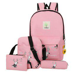 Girl's Bags Set Cartoon Pattern Backpack Shoulder Bag Pencil Bag Purse Set -