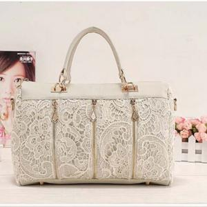 Women's Handbag Chic Zipper Design Lace Ladylike Soft Bag -