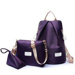 Women's Backpack Set Nylon Solid Color Sterling School Bags Set -