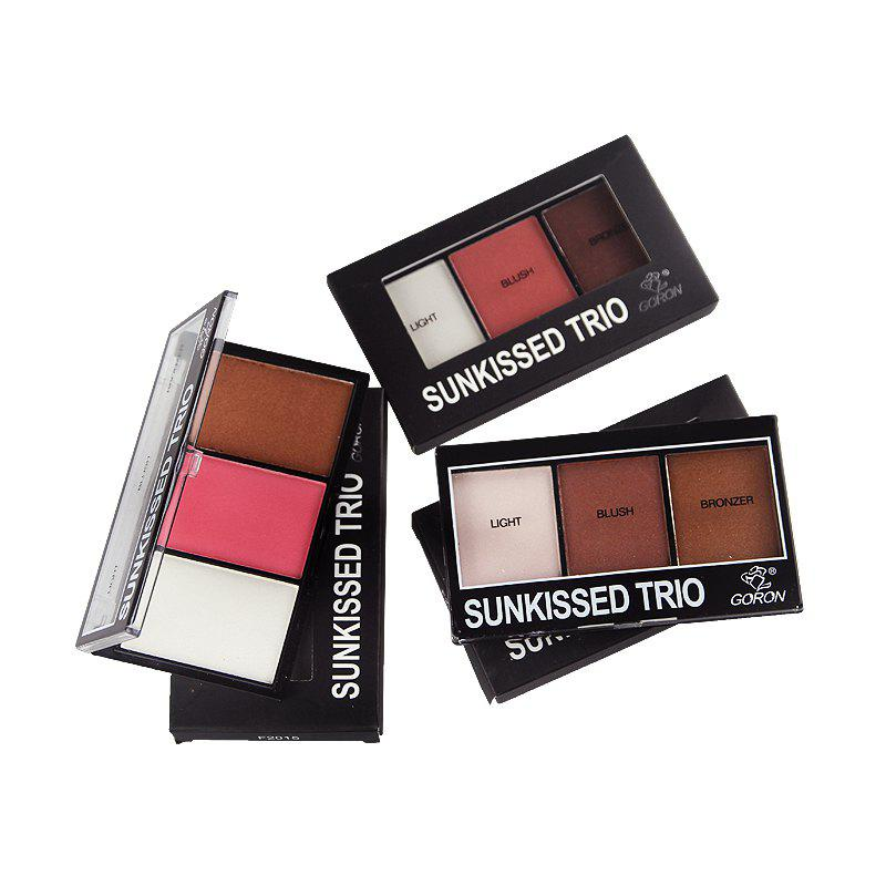Fancy GORON F2015 3 Colors Blusher Bronzer Palette Facial Makeup Palettes 3PCS