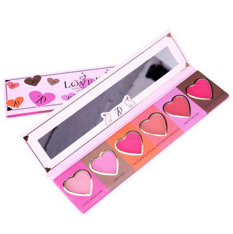 Chic ZD F2098  6 Colors Blusher Palette Heart Shaped Cheek Makeup Blush Powder 1PC