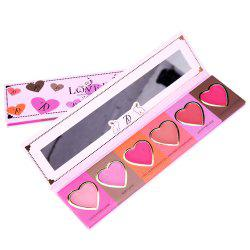 ZD F2098  6 Colors Blusher Palette Heart Shaped Cheek Makeup Blush Powder 1PC -