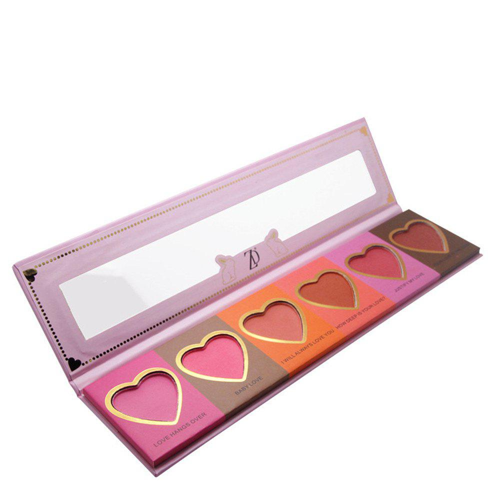 Affordable ZD F2098  6 Colors Blusher Palette Heart Shaped Cheek Makeup Blush Powder 1PC