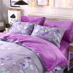 Pure Cotton Add Crystal Velvet Fabric Warming Bedding Sets of Purple Flower -