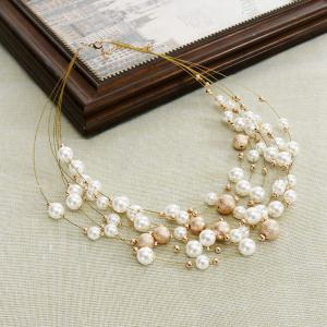 Women Fashion Jewelry Multilayer Chain Imitation Pearls Necklaces Wedding Bride Choker -