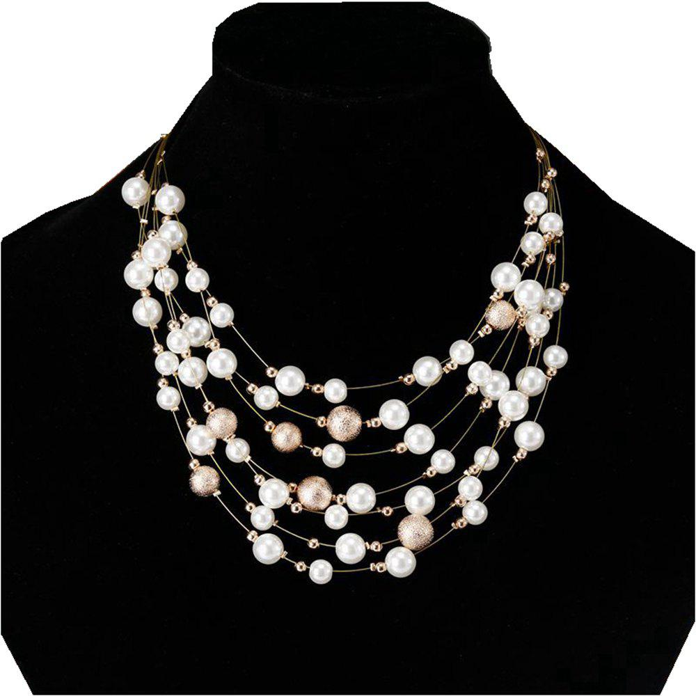 Online Women Fashion Jewelry Multilayer Chain Imitation Pearls Necklaces Wedding Bride Choker