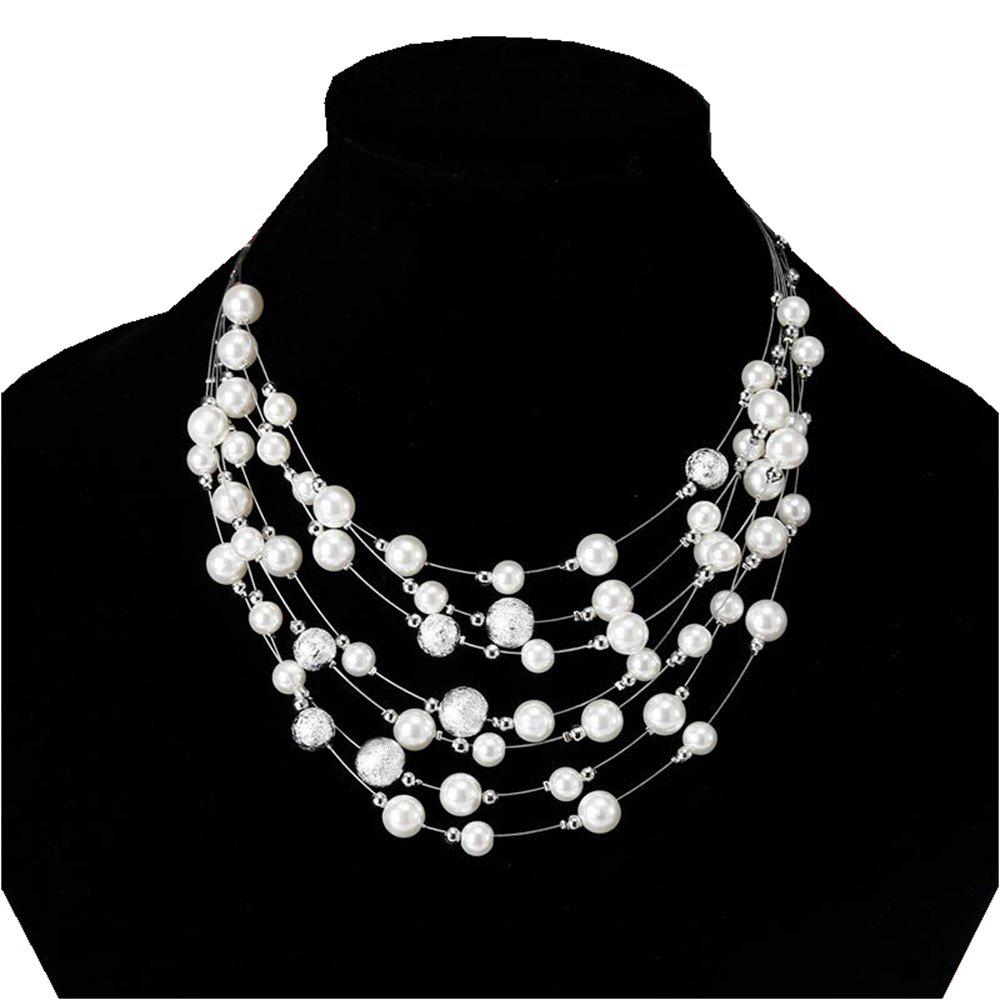 Best Women Fashion Jewelry Multilayer Chain Imitation Pearls Necklaces Wedding Bride Choker