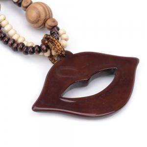 Women Girls Bohemia Style Wood Lips Long Sweater Chain Pendant Necklace Fashion Jewelry -