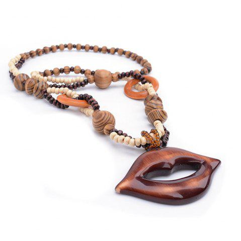 Buy Women Girls Bohemia Style Wood Lips Long Sweater Chain Pendant Necklace Fashion Jewelry