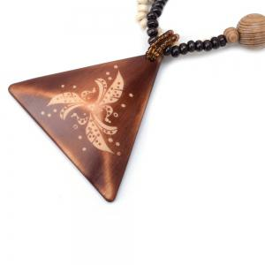 Women Girls Long Sweater Chain Wood Triangle Pendant Necklace Fashion Jewelry Gifts -