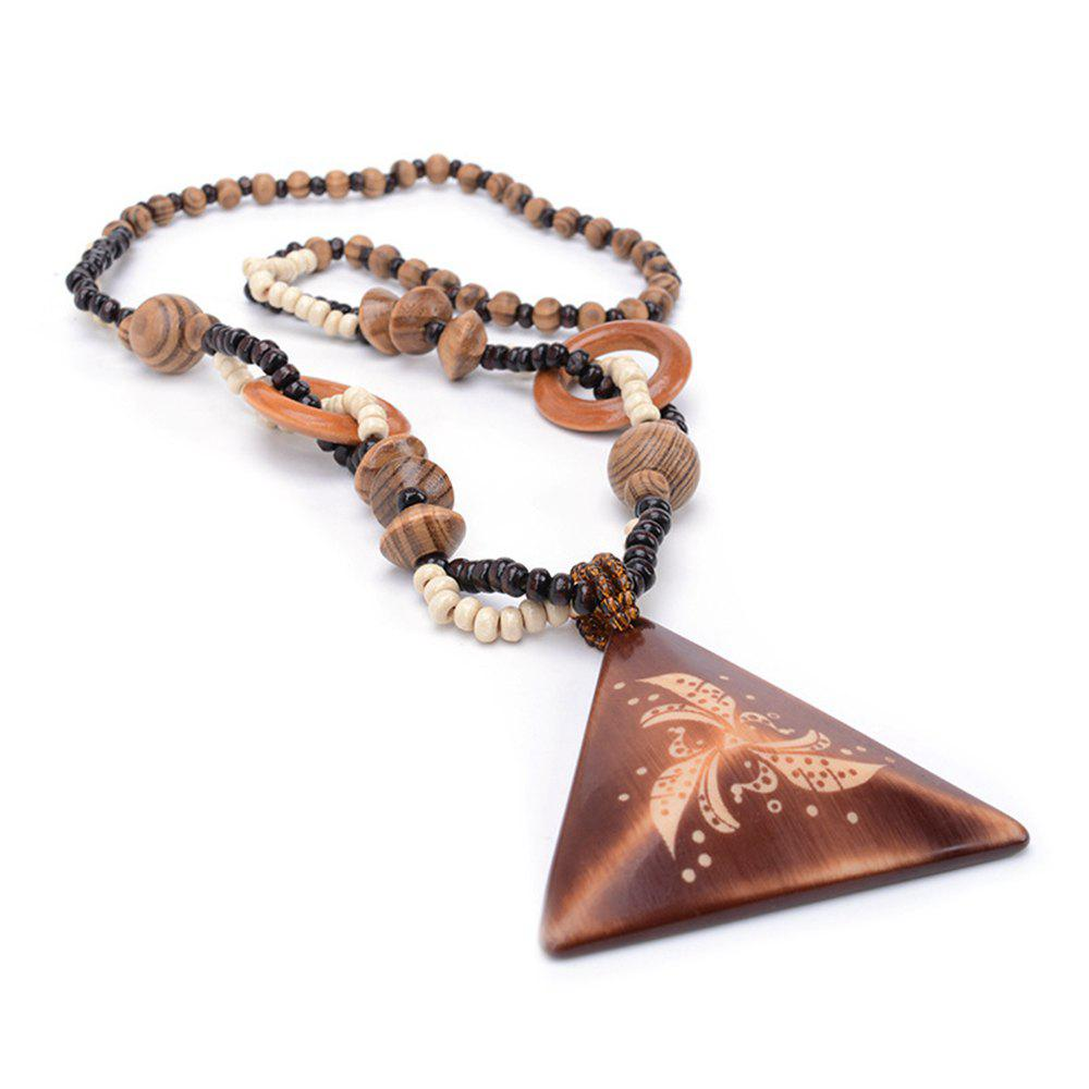 Latest Women Girls Long Sweater Chain Wood Triangle Pendant Necklace Fashion Jewelry Gifts